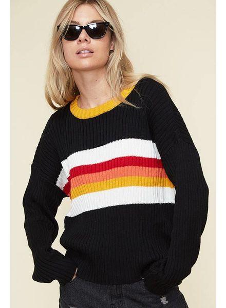 Fantastic Fawn Fantastic Fawn Striped Warm Hue Sweater Black