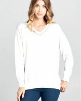 Wendy WEN White Sweater with Trim