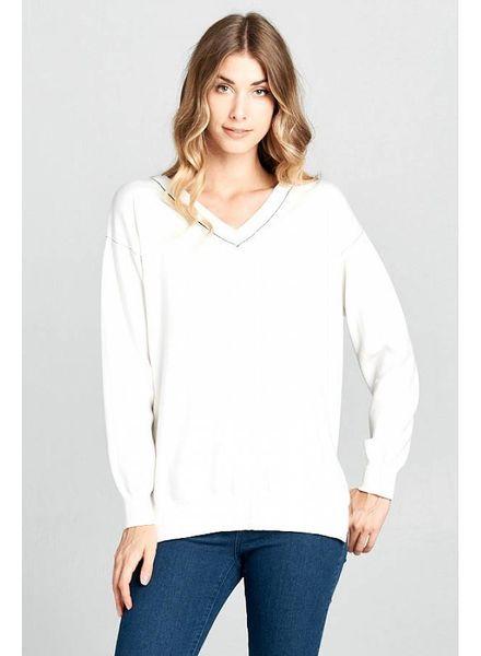 Wendy WEN White Sweater with Trim