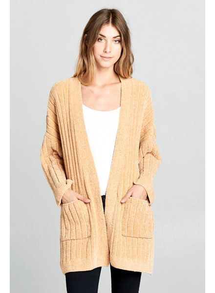 Wendy WEN Ribbed Cardigan Mustard