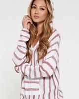 Love Stitch Love Stitch Striped Pullover Sweater Red/White