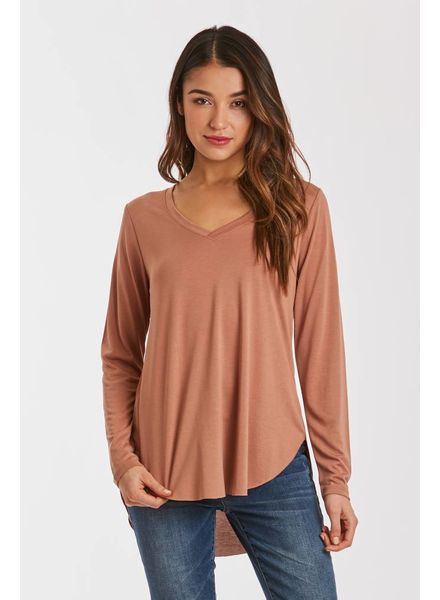 Another Love Another Love Lilah V Neck Top Long Sleeve Mochachino