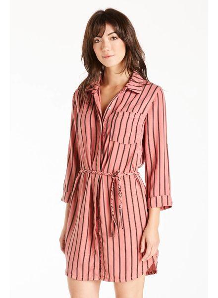 Dear John Dear John Striped Shirt Dress Sunset Coral