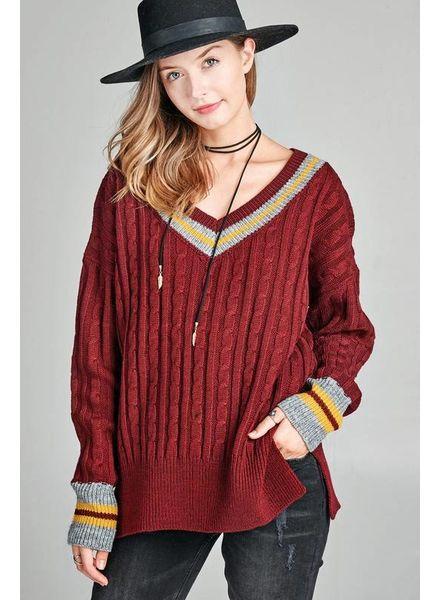Oddi Oddi Cable Knit V Neck Sweater Burgundy