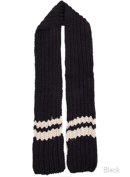 Hana Striped Collegiate Scarf Black