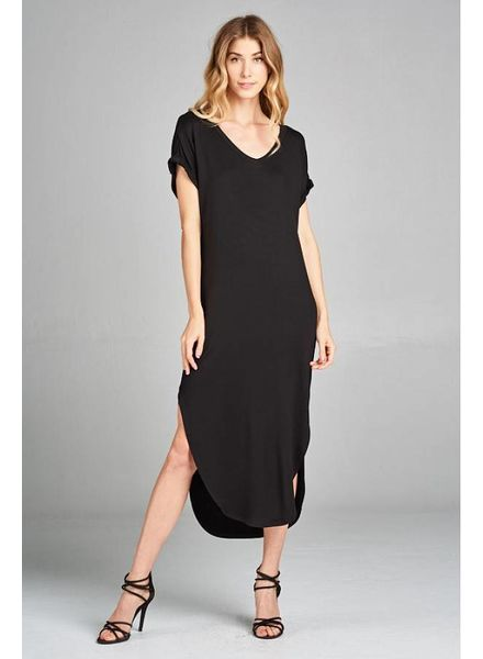 Wendy WEN Basic Knit Dress V Neck