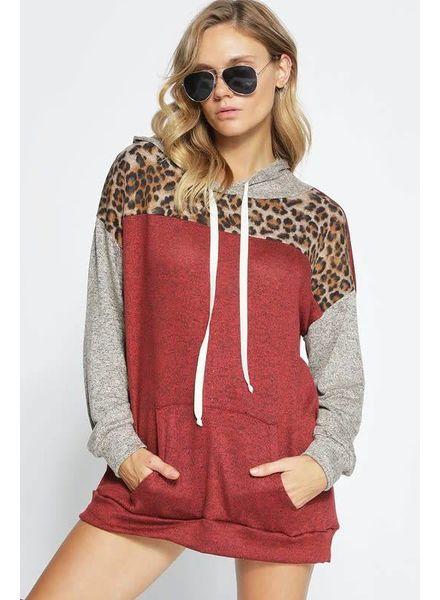 BIBI Bibi Hacci Block Hoodie Leopard Rust