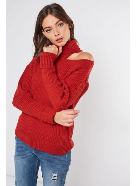 MISC Ribbed Sweater One Shoulder Brick Red