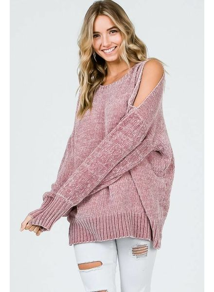 MISC Chenille Cold Shoulder Sweater