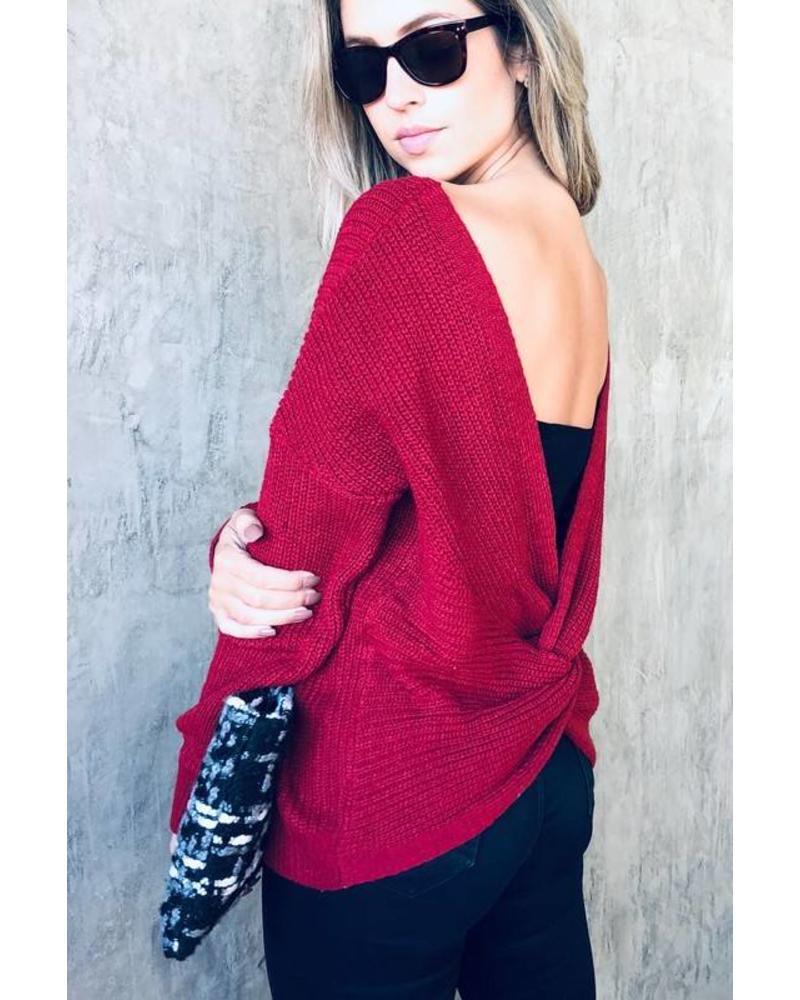 MISC Why Cross Back Sweater Burgundy