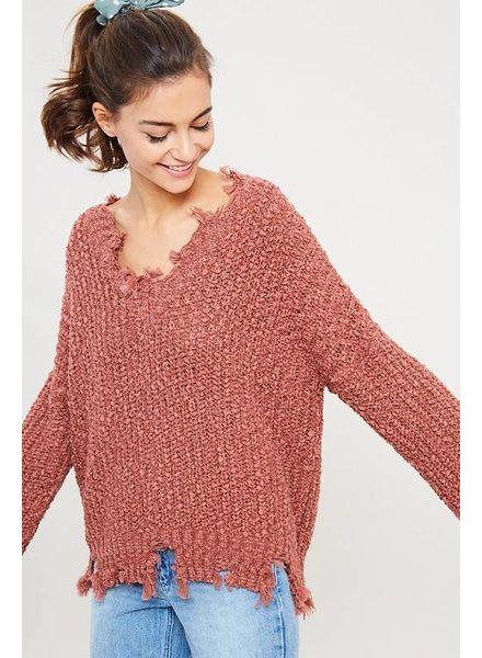 Wishlist Wishlist Distressed Sweater Rust