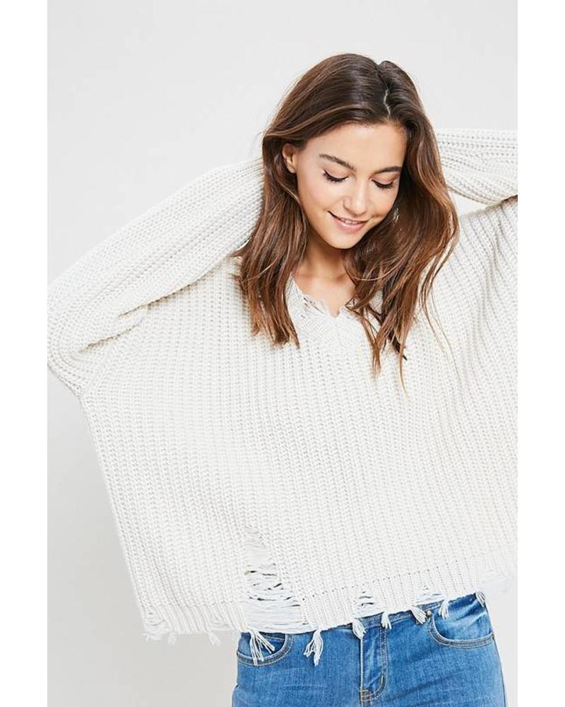 Wishlist Wishlist Distressed V Neck Sweater Ivory