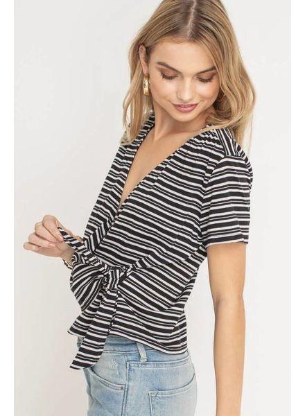 Lush Lush Knit Wrap Top Black White Striped