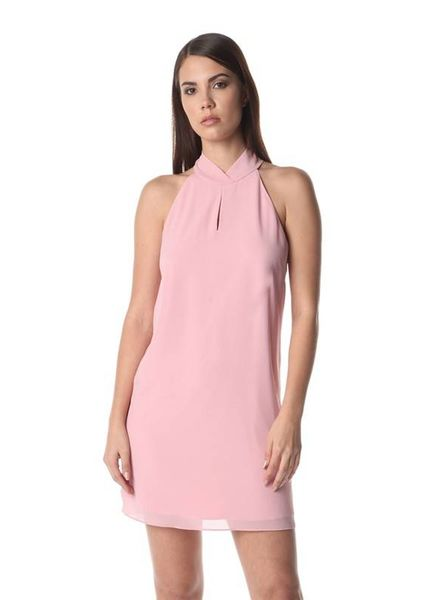 Naked Zebra Naked Zebra Mock Neck Keyhole Dress Pink