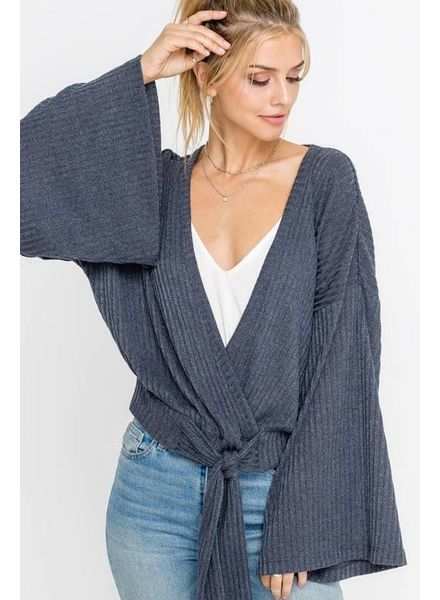 Lush Lush Ribbed Tie Top Charcoal Ribbed