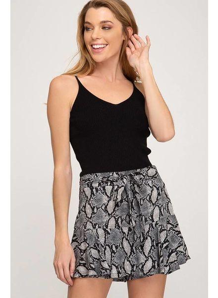 She & Sky She & Sky Ruffle Skirt Snake Grey