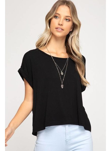 She & Sky She & Sky Drop Shoulder Basic Knit Crop Tee