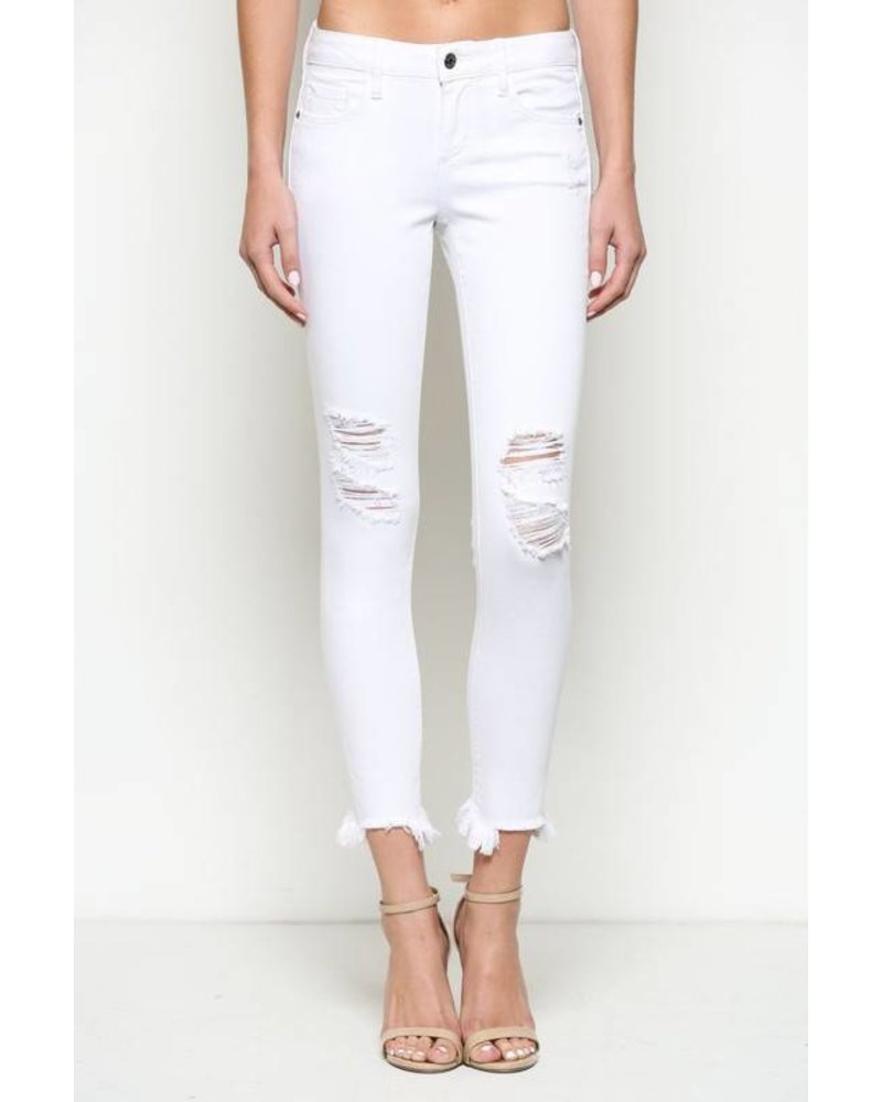 Hidden Jeans Hidden Cropped Jean Frayed Hem White