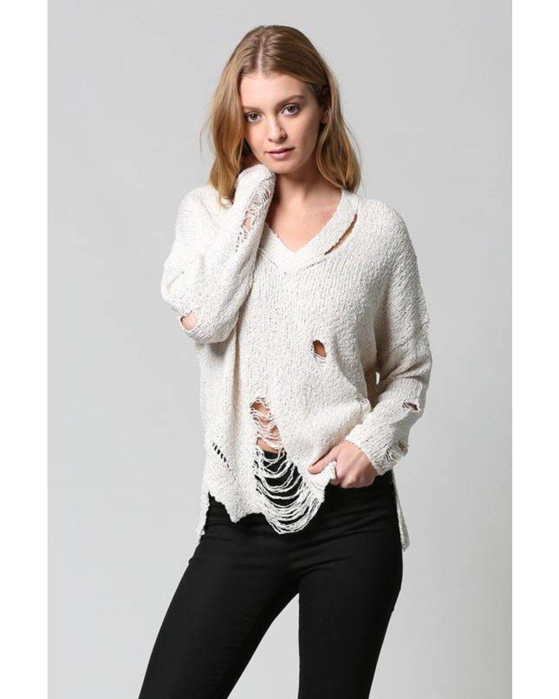 Fate FATE V Neck Distressed Sweater Ivory