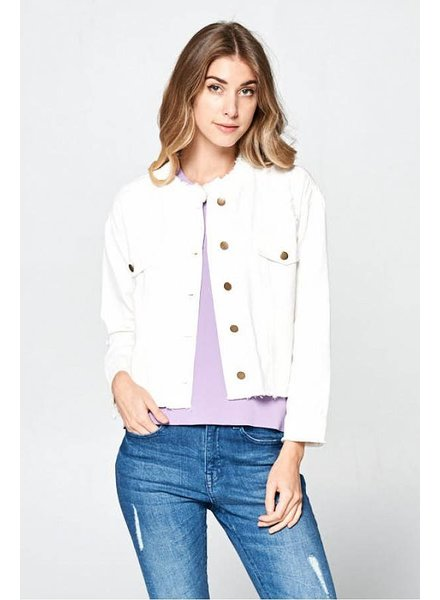 Wendy WEN Crop Frayed Jacket White