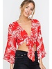 Lush Lush Tropical Tie Top Red