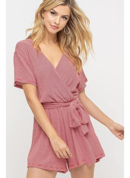 Lush Lush Red/White Striped Wrap Romper