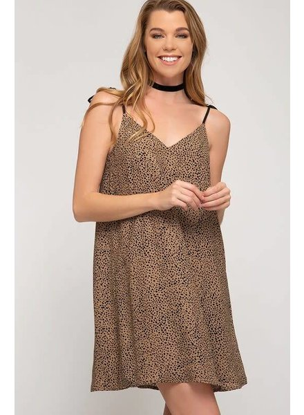 She & Sky She & Sky Printed Dress Shoulder Ties Mocha