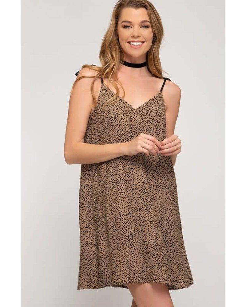 She & Sky She & Sky Printed Dress Shoulder Ties Mocha