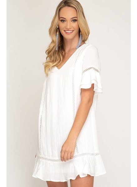 She & Sky She & Sky Woven Lace Ruffle Dress Ivory