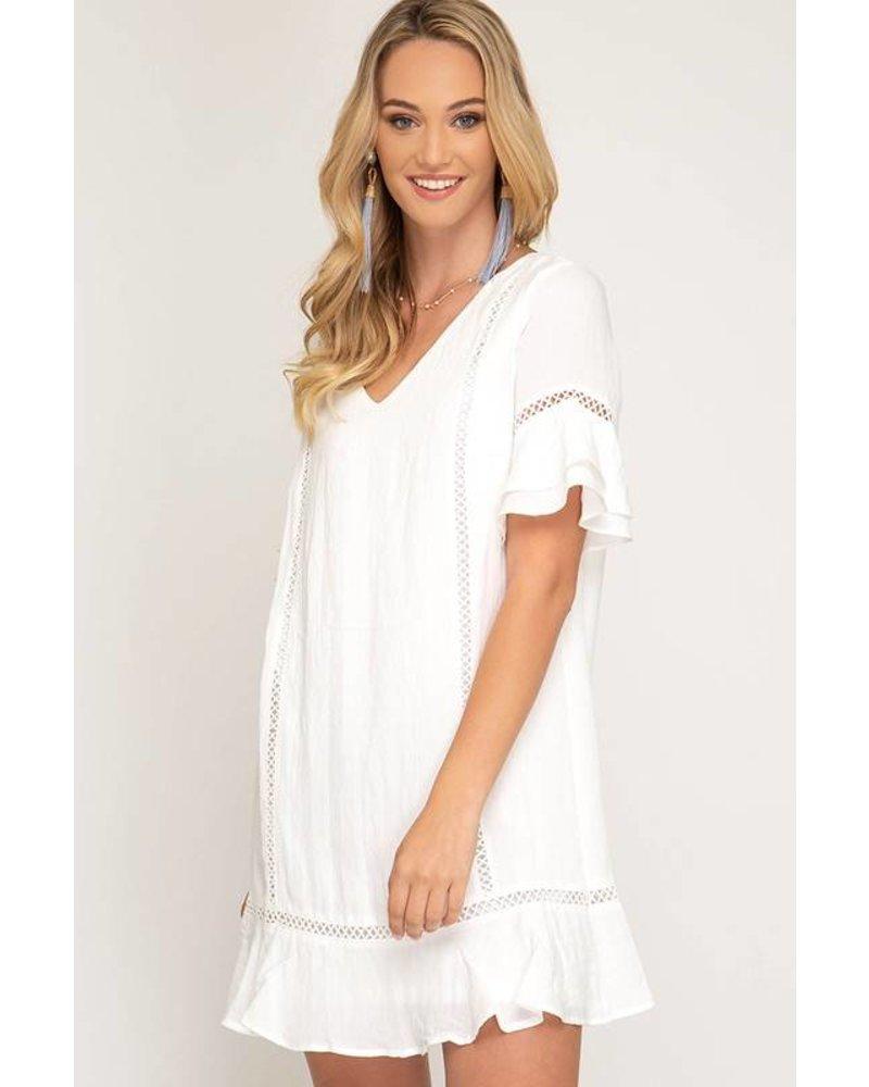 She & Sky She & Sky Woven Lace Ruffle Dress Ivory