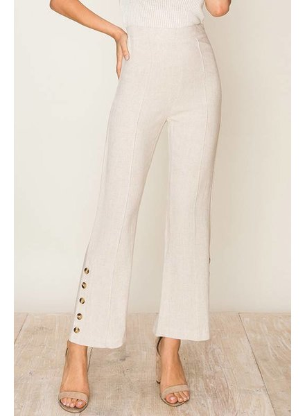 HYFVE HYFVE Crop Side Button Pant Oatmeal