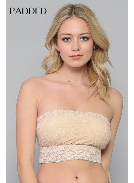 By Together By Together Off White Lace Bandeau with Pad O/S