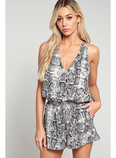 Blue Blush Blue Blush V Neck Romper Animal Grey