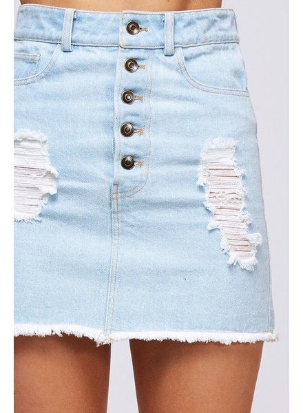 Peach Love Peach Love Denim Button Skirt
