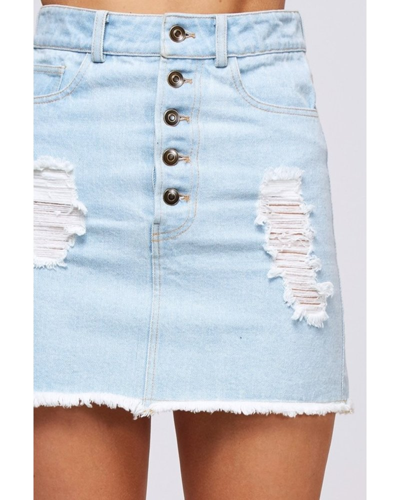 Peach Love Peach Love Denim Button Skirt