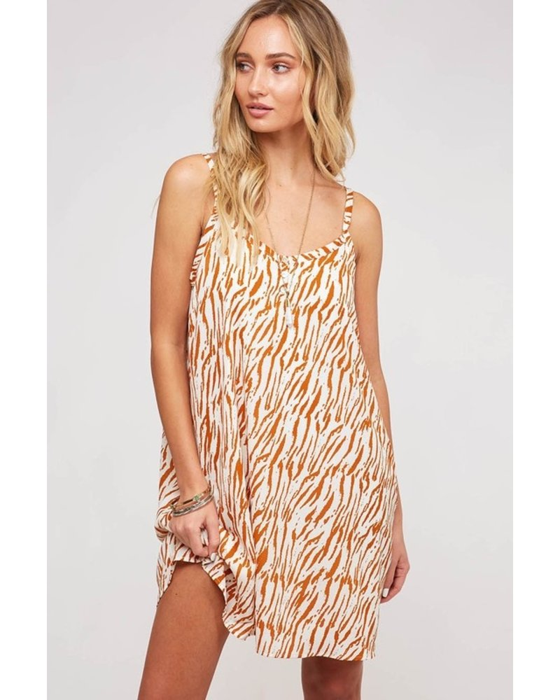 Peach Love Peach Love Animal Print Dress Camel/White