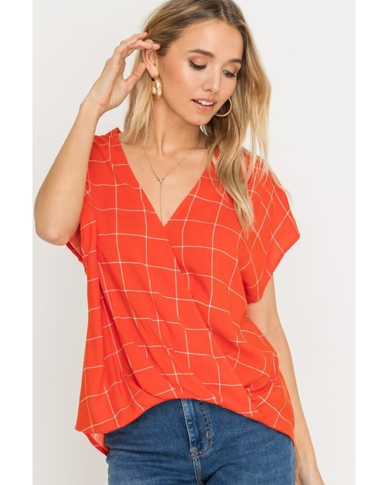 Lush Lush Wrap Top Coral Red/Ivory