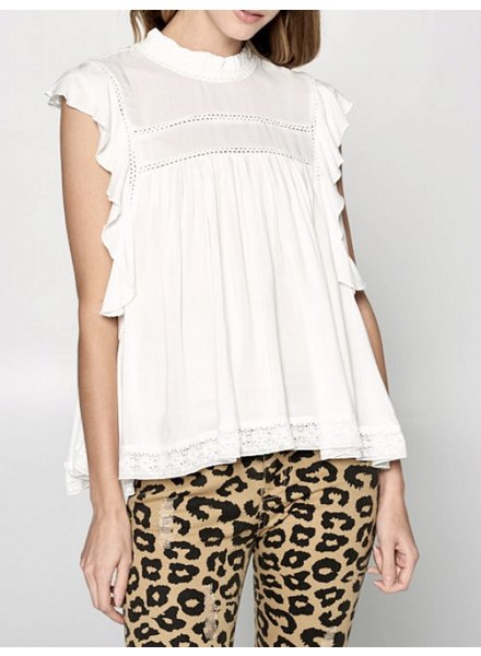 Wendy WEN Ellison Ruffle/Lace Woven Top White