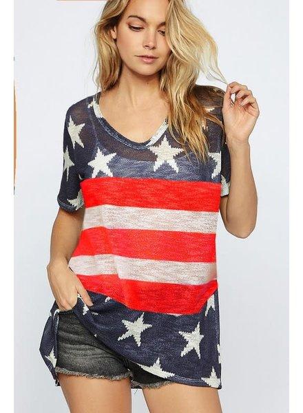BIBI BIBI V Neck Stars/Stripes Shirt Navy