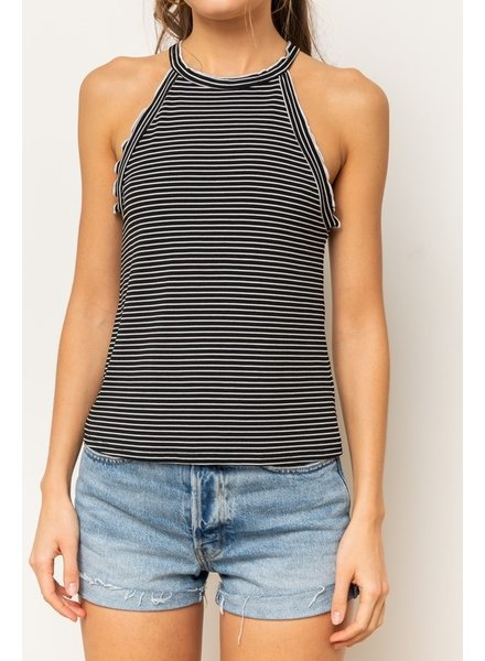 Hem & Thread Hem & Thread Lettuce Tank Top Black Stripe