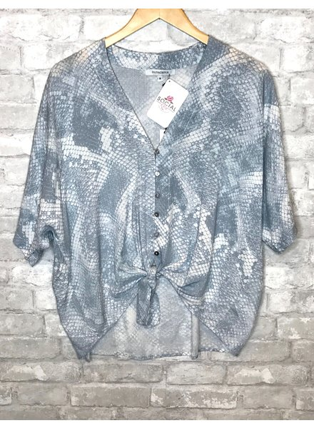 Olivaceous Olivaceous Blue Snakeskin Tie Top