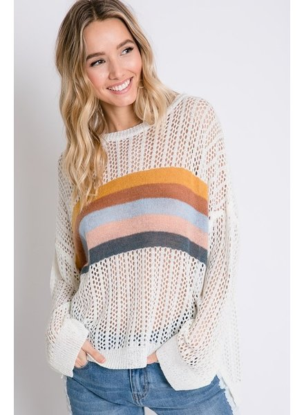 Davi & Dani Davi Cream Light Sweater with Stripes