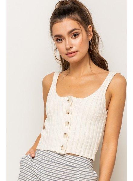 Hem & Thread Hem & Thread Crop Tank Button Sweater Cream