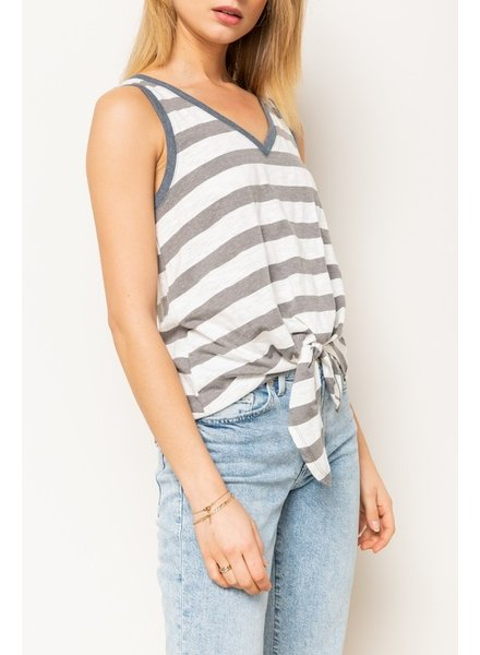 Hem & Thread Hem & Thread Blue Striped Tank with Tie