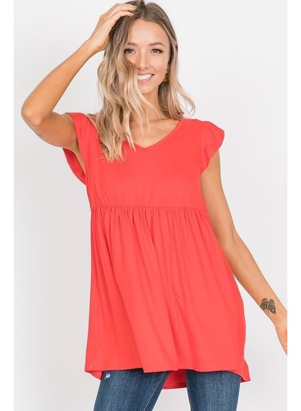 MISC Ruffle Top Tomato Red