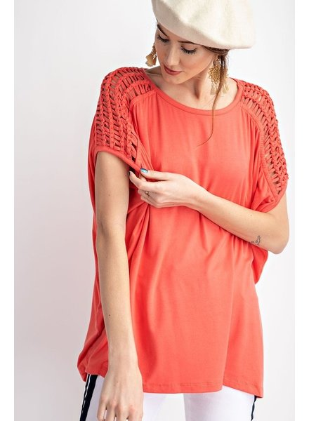 Easel Easel Coral Strappy Top