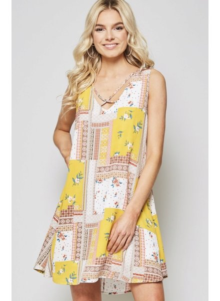 Wendy WEN Multi Yellow Print Dress