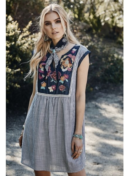 Wendy WEN Denim Striped Floral Dress
