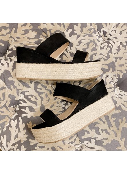 CCOCCI Black Strappy Wedge