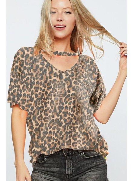 BIBI Bibi Leopard Keyhole TShirt